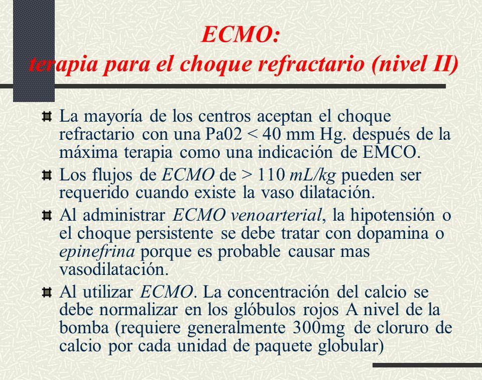 ECMO: terapia para el choque refractario (nivel II)