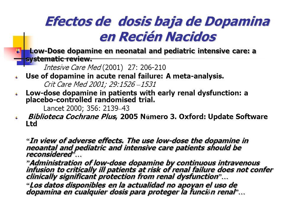 Efectos de dosis baja de Dopamina en Recién Nacidos