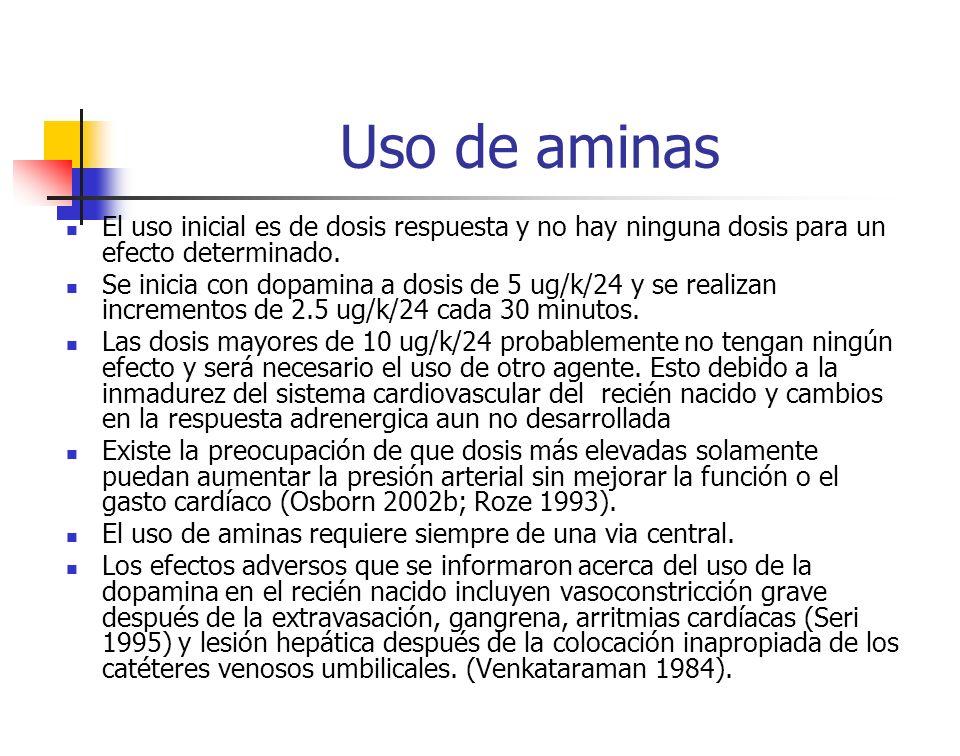 Uso de aminas El uso inicial es de dosis respuesta y no hay ninguna dosis para un efecto determinado.