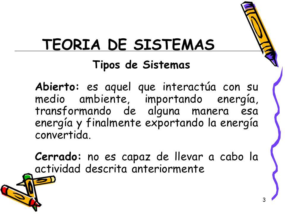 TEORIA DE SISTEMAS Tipos de Sistemas
