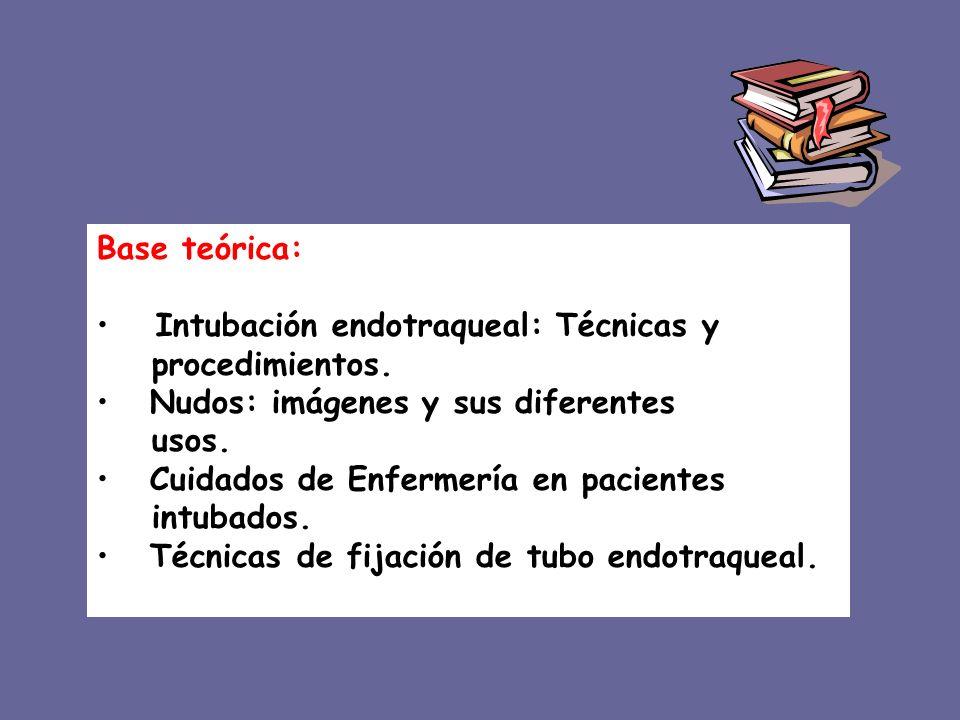 Base teórica: Intubación endotraqueal: Técnicas y. procedimientos. Nudos: imágenes y sus diferentes.