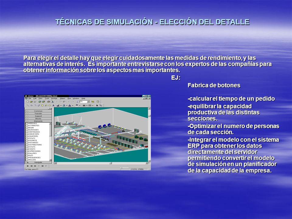 TÉCNICAS DE SIMULACIÓN - ELECCIÓN DEL DETALLE