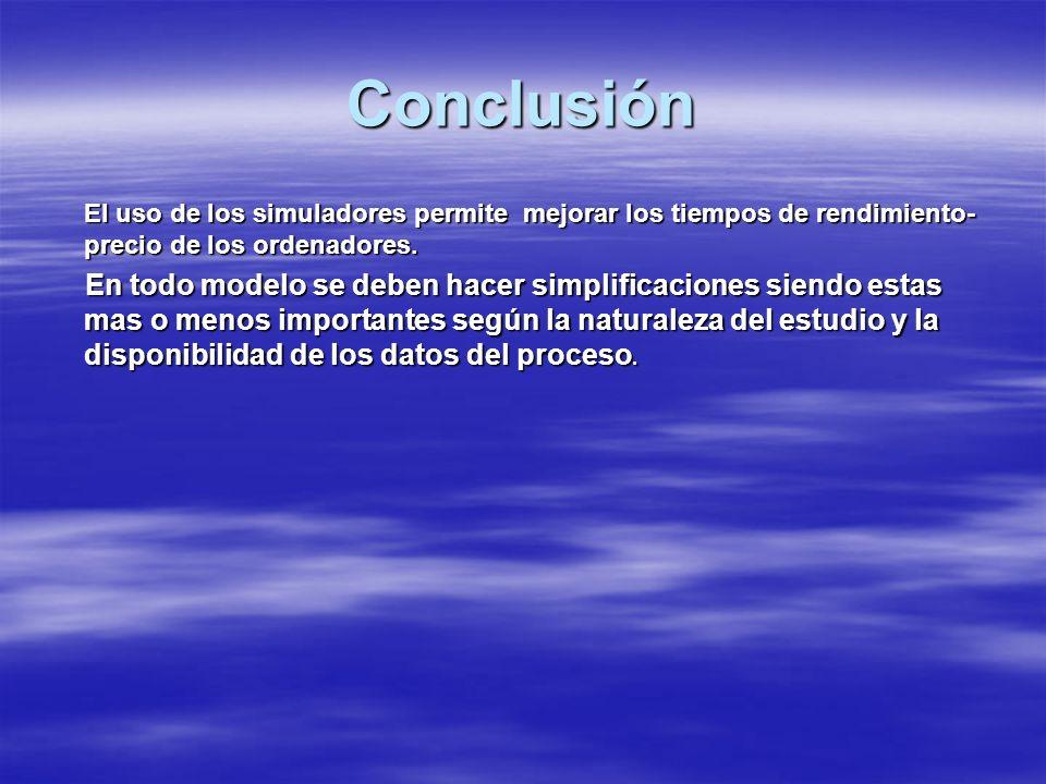 Conclusión El uso de los simuladores permite mejorar los tiempos de rendimiento-precio de los ordenadores.
