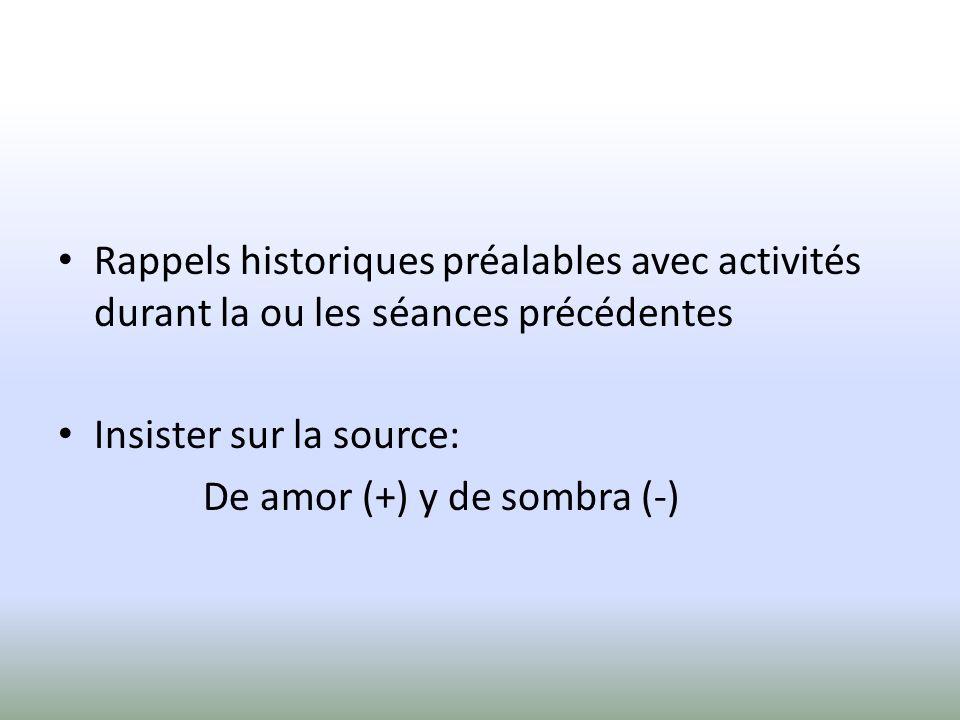 Rappels historiques préalables avec activités durant la ou les séances précédentes