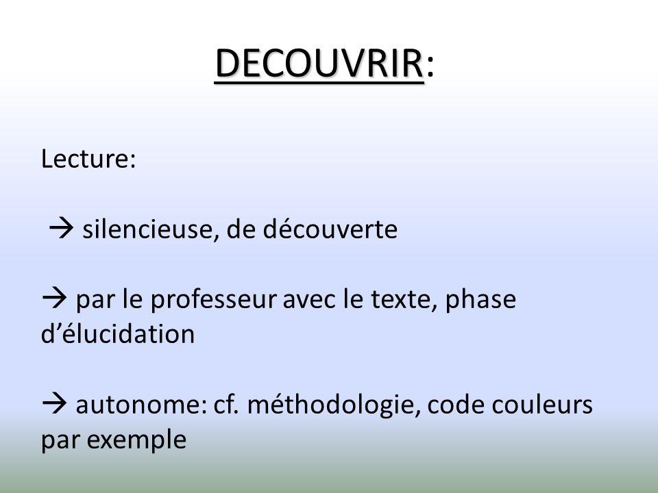 DECOUVRIR: Lecture:  silencieuse, de découverte  par le professeur avec le texte, phase d'élucidation  autonome: cf.
