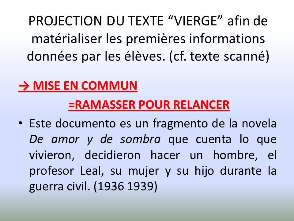 PROJECTION DU TEXTE VIERGE afin de matérialiser les premières informations données par les élèves. (cf. texte scanné)