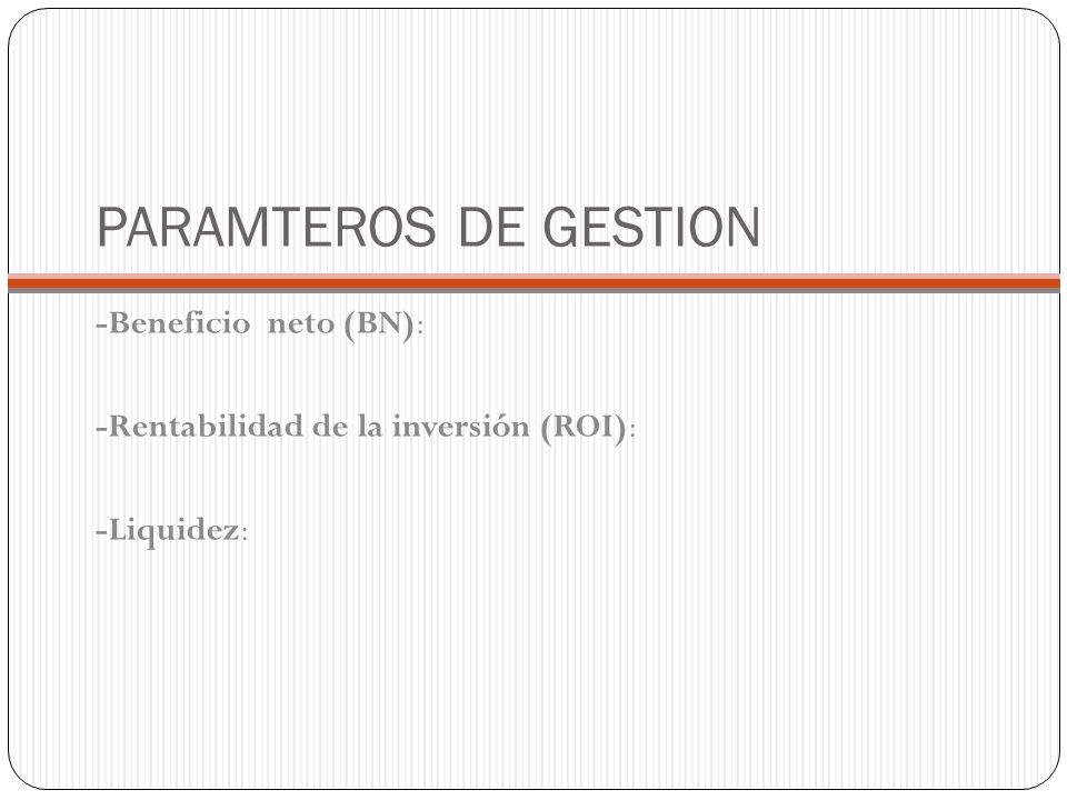 PARAMTEROS DE GESTION -Beneficio neto (BN):