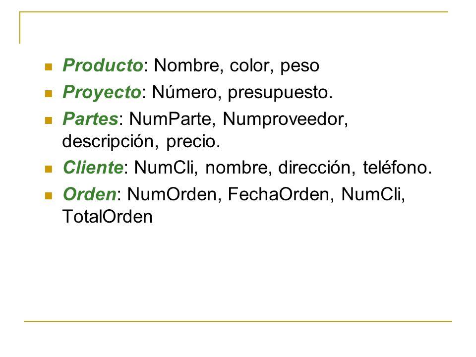 Producto: Nombre, color, peso
