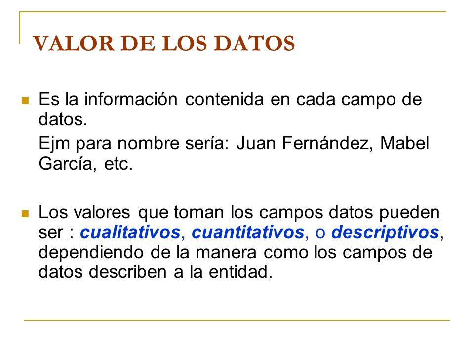 VALOR DE LOS DATOS Es la información contenida en cada campo de datos.