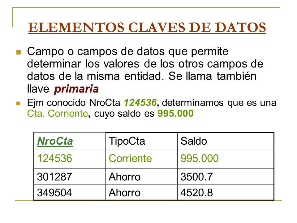 ELEMENTOS CLAVES DE DATOS