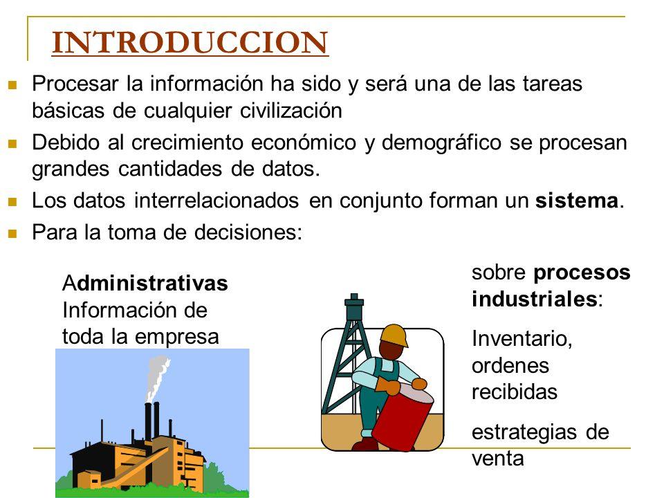 INTRODUCCION Procesar la información ha sido y será una de las tareas básicas de cualquier civilización.