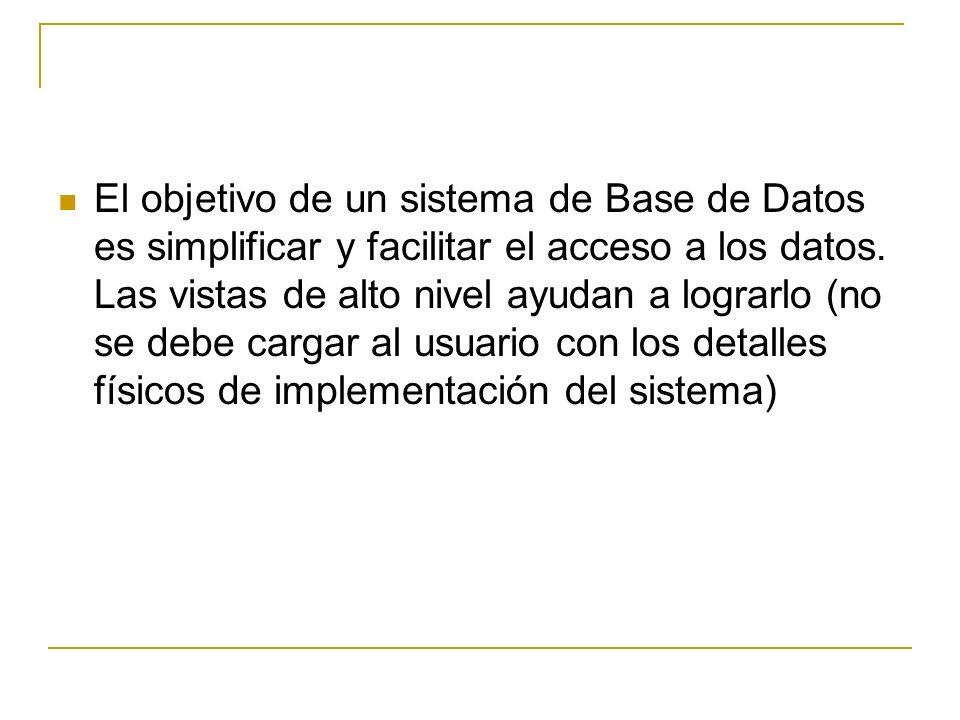 El objetivo de un sistema de Base de Datos es simplificar y facilitar el acceso a los datos.