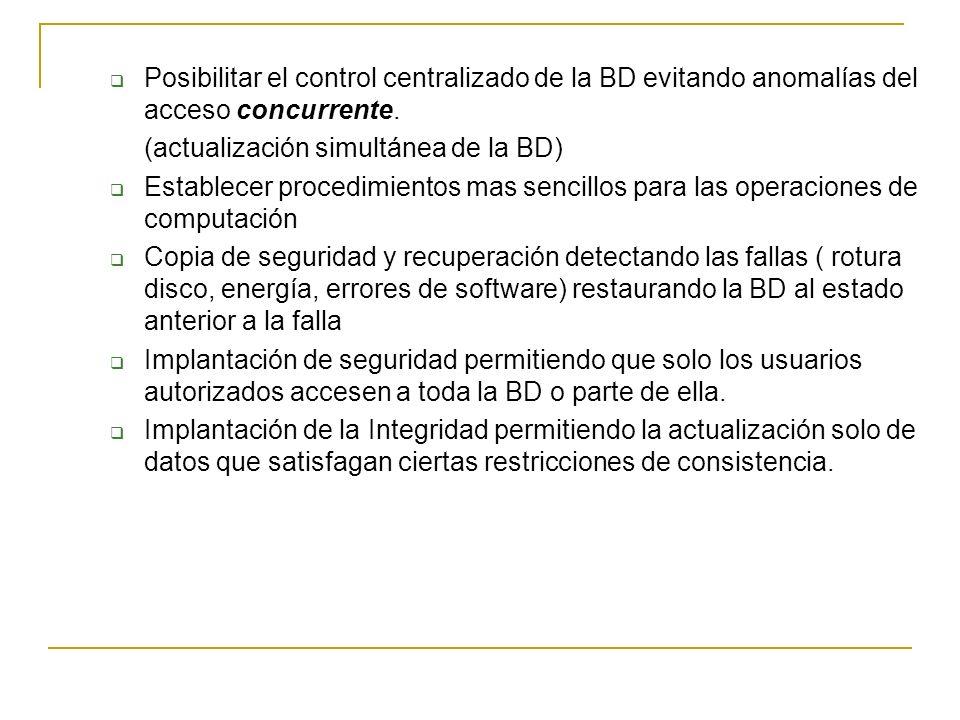 Posibilitar el control centralizado de la BD evitando anomalías del acceso concurrente.
