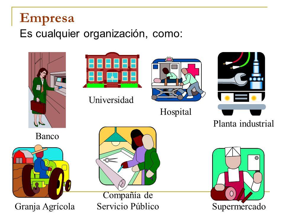 Empresa Es cualquier organización, como: