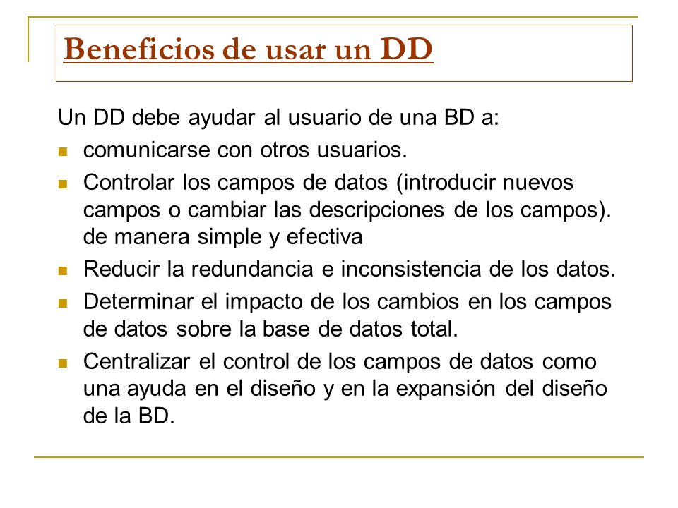 Beneficios de usar un DD
