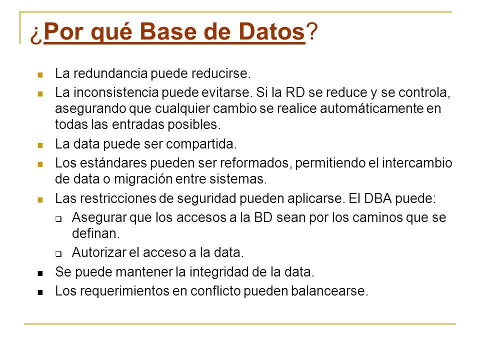 ¿Por qué Base de Datos La redundancia puede reducirse.