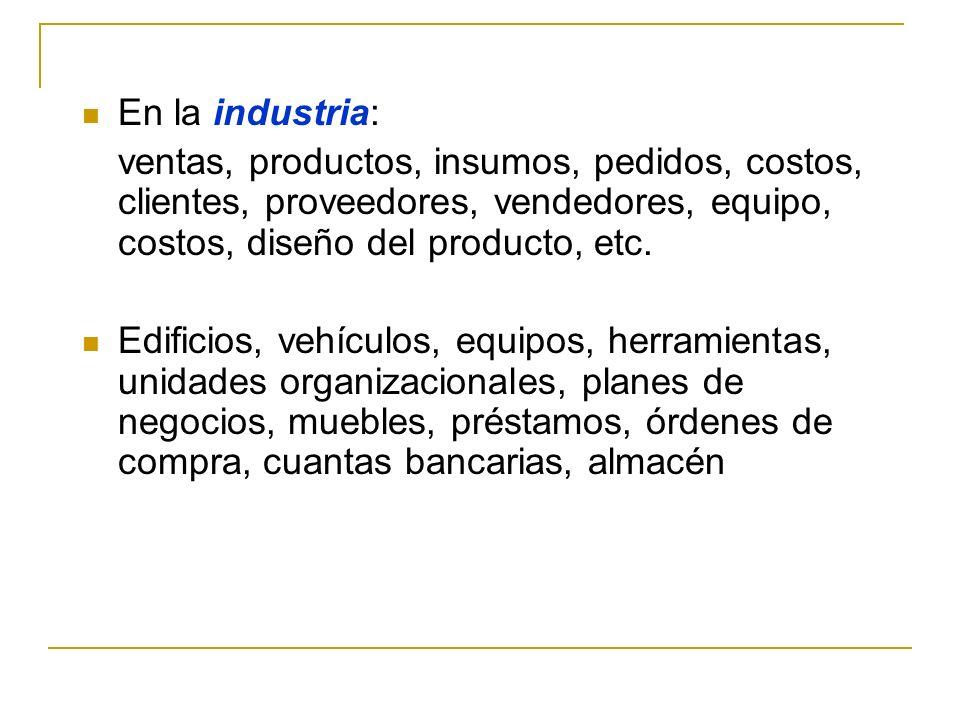 En la industria:ventas, productos, insumos, pedidos, costos, clientes, proveedores, vendedores, equipo, costos, diseño del producto, etc.