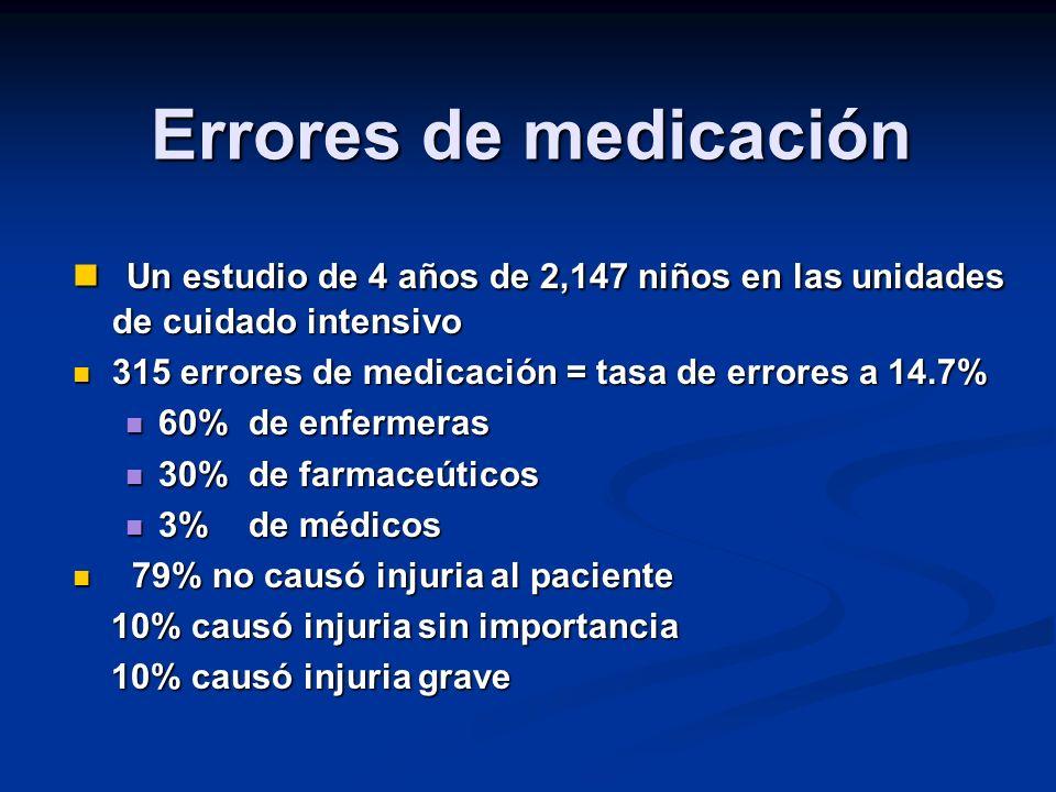 Errores de medicación Un estudio de 4 años de 2,147 niños en las unidades de cuidado intensivo. 315 errores de medicación = tasa de errores a 14.7%