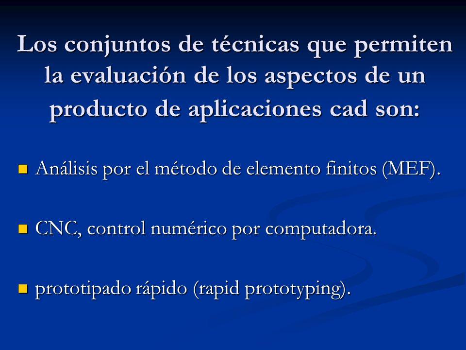 Los conjuntos de técnicas que permiten la evaluación de los aspectos de un producto de aplicaciones cad son: