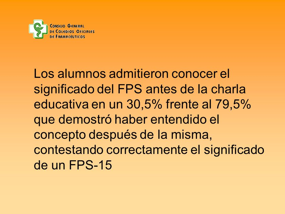 Los alumnos admitieron conocer el significado del FPS antes de la charla educativa en un 30,5% frente al 79,5% que demostró haber entendido el concepto después de la misma, contestando correctamente el significado de un FPS-15