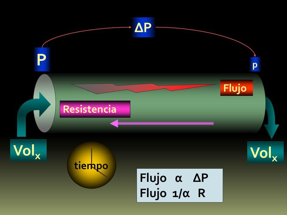 ∆P P p Flujo Resistencia Volx Volx tiempo Flujo α ∆P Flujo 1/α R