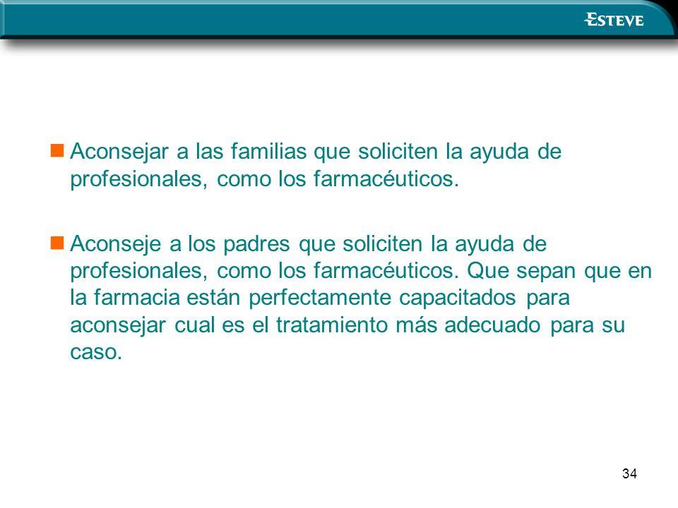 Aconsejar a las familias que soliciten la ayuda de profesionales, como los farmacéuticos.