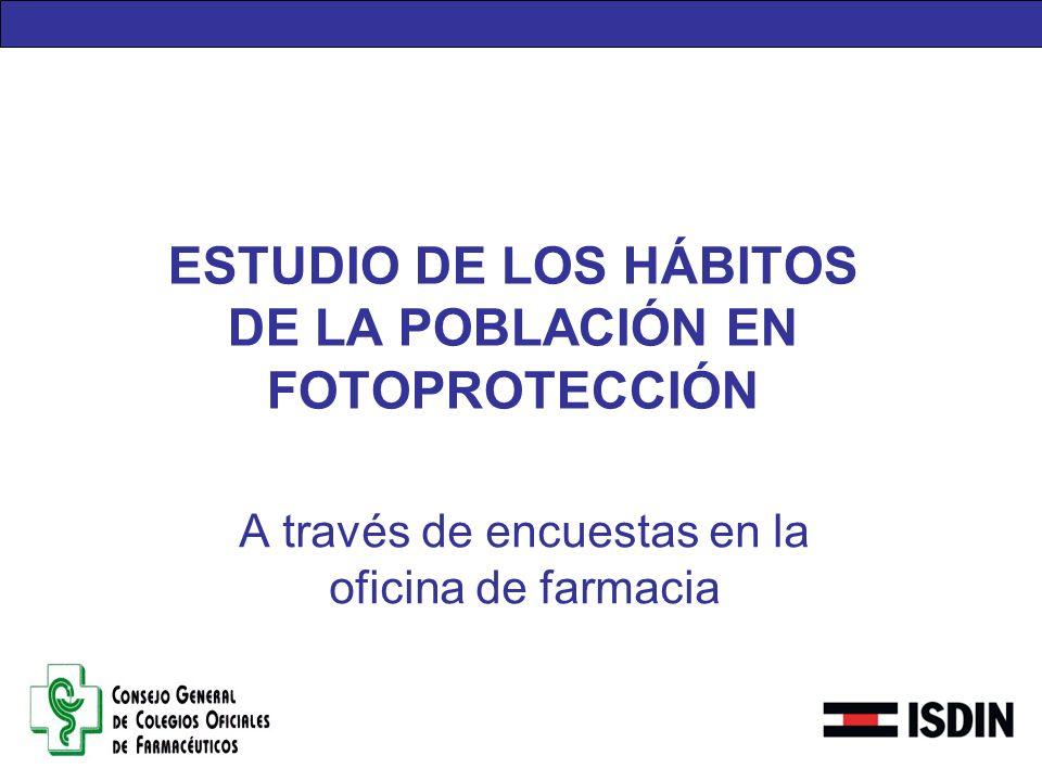 ESTUDIO DE LOS HÁBITOS DE LA POBLACIÓN EN FOTOPROTECCIÓN
