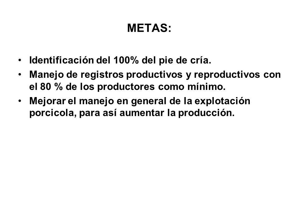 METAS: Identificación del 100% del pie de cría.