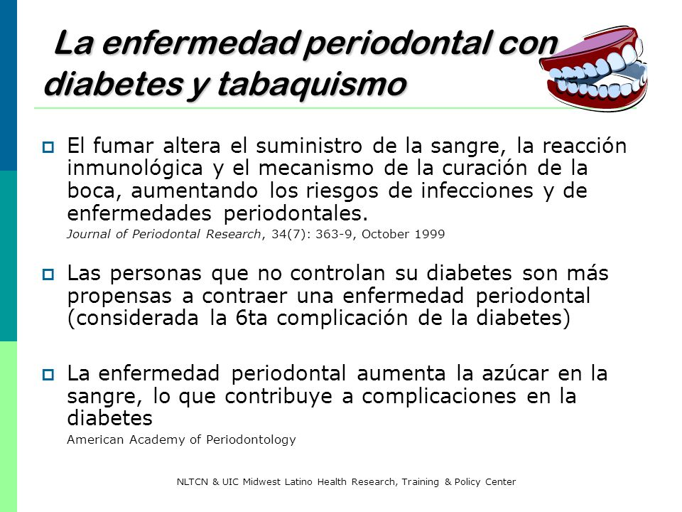 La enfermedad periodontal con diabetes y tabaquismo