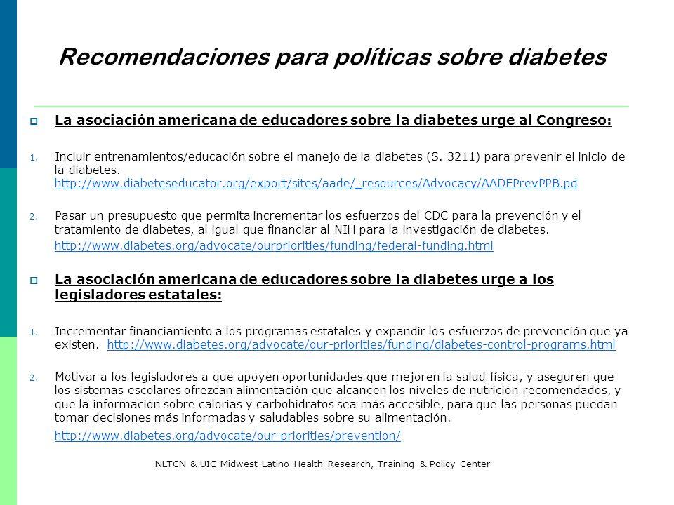 Recomendaciones para políticas sobre diabetes