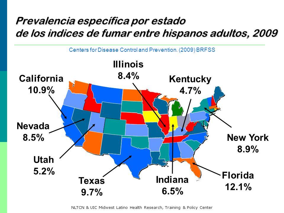 Prevalencia específica por estado de los indices de fumar entre hispanos adultos, 2009