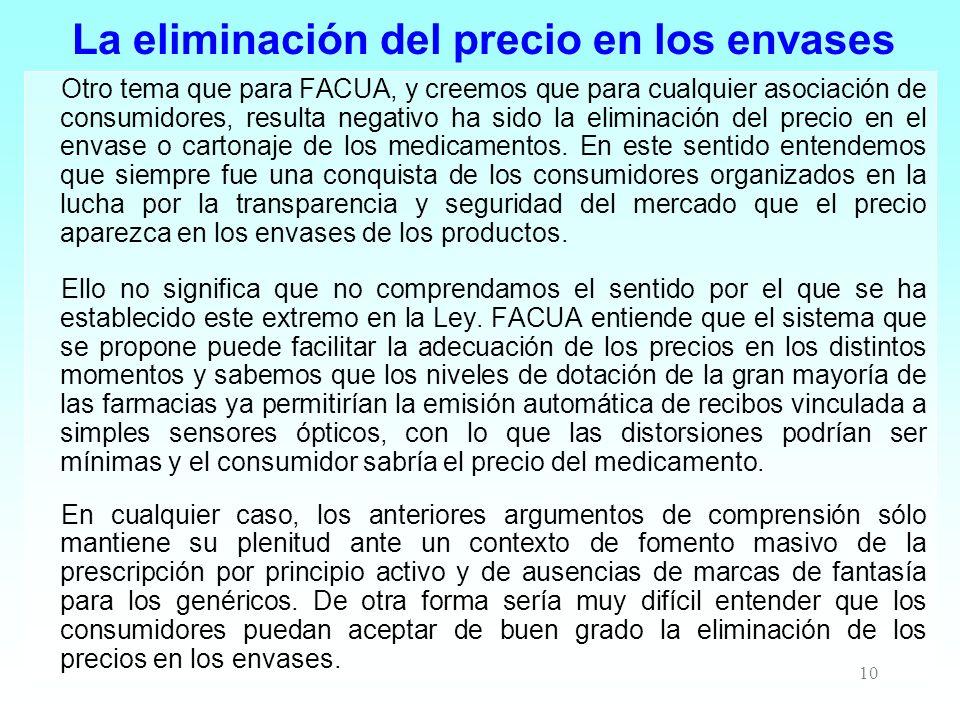 La eliminación del precio en los envases