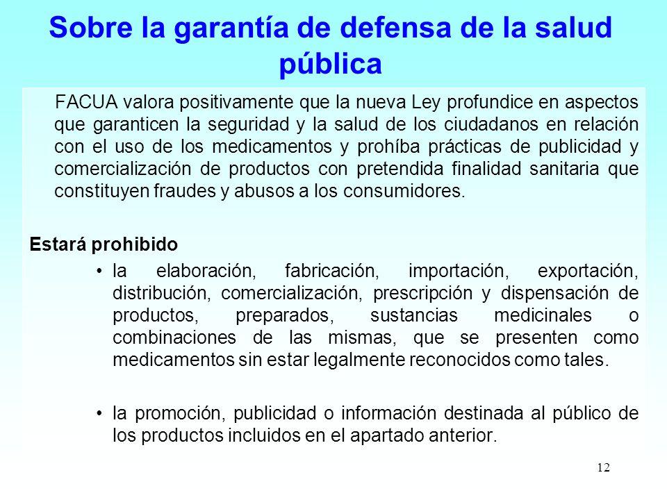 Sobre la garantía de defensa de la salud pública