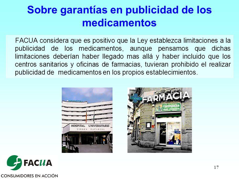 Sobre garantías en publicidad de los medicamentos