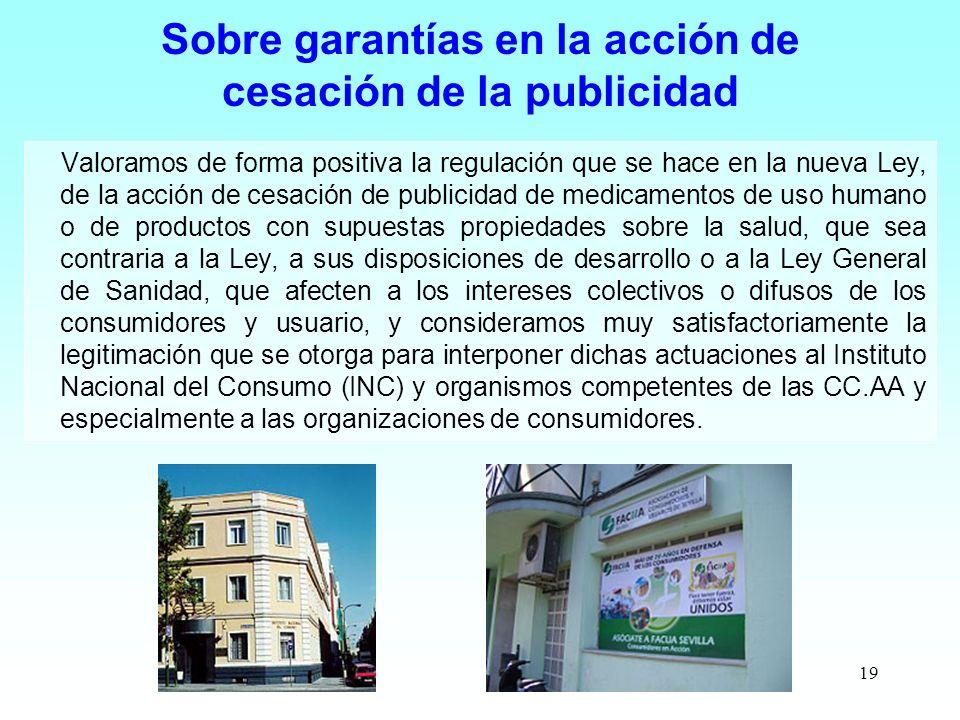 Sobre garantías en la acción de cesación de la publicidad