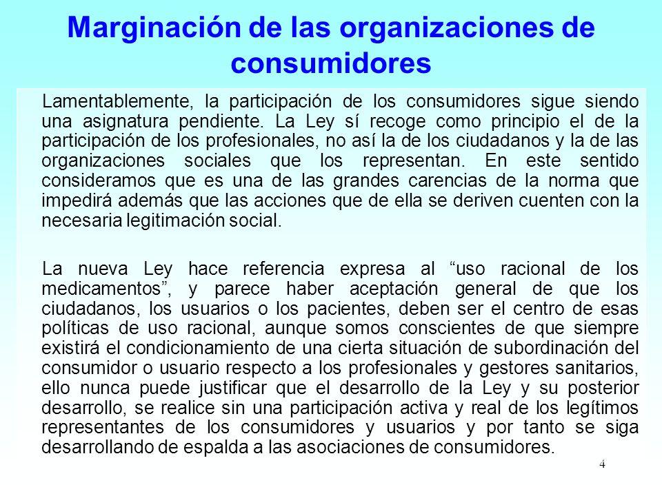 Marginación de las organizaciones de consumidores