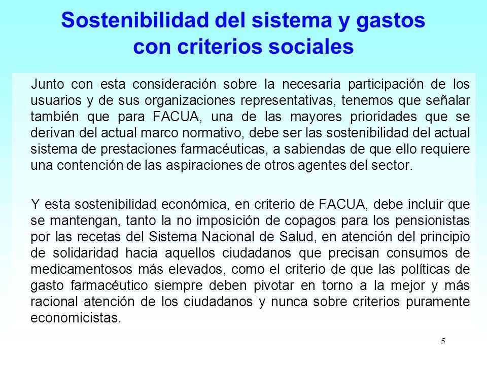 Sostenibilidad del sistema y gastos con criterios sociales