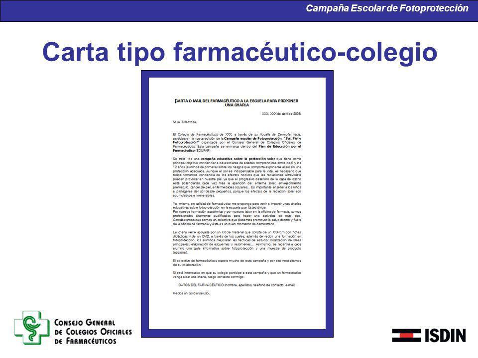 Carta tipo farmacéutico-colegio