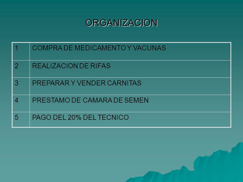 ORGANIZACION 1 COMPRA DE MEDICAMENTO Y VACUNAS 2 REALIZACION DE RIFAS