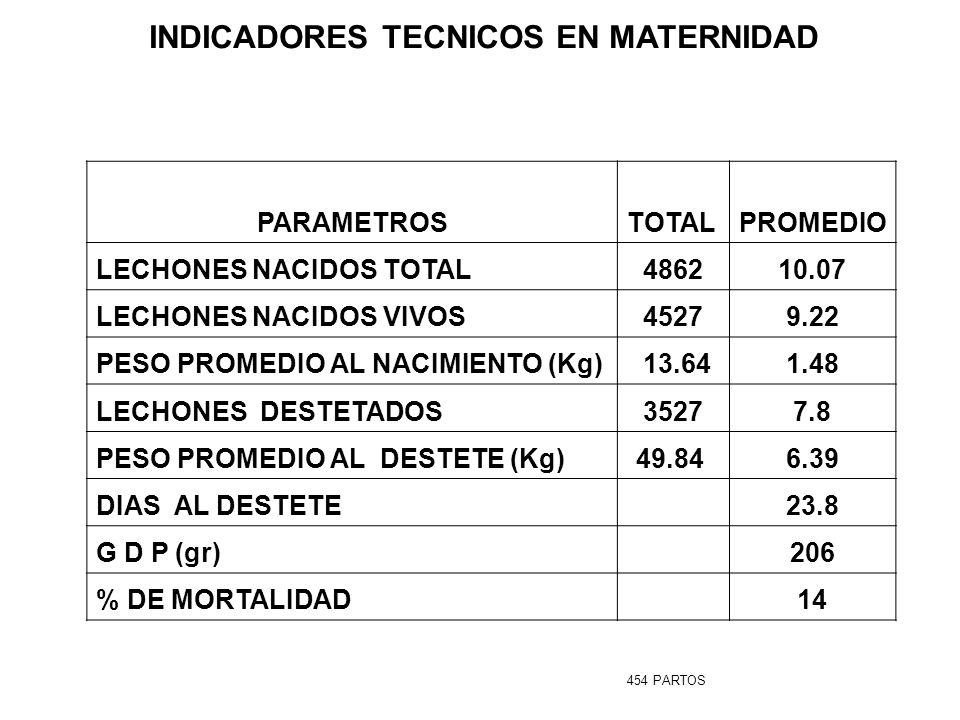 INDICADORES TECNICOS EN MATERNIDAD