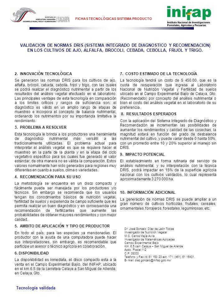 FICHAS TECNOLÓGICAS SISTEMA PRODUCTO