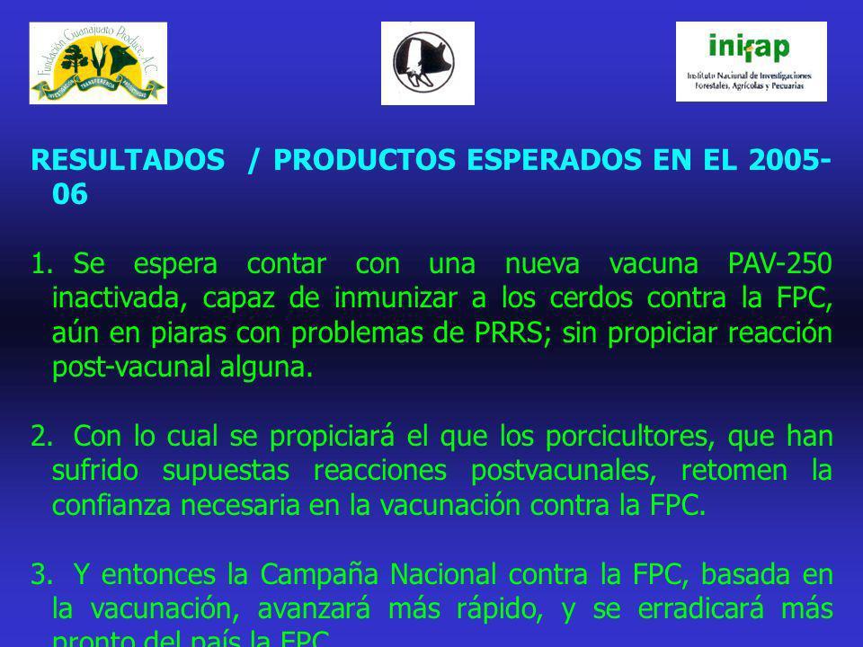 RESULTADOS / PRODUCTOS ESPERADOS EN EL 2005-06