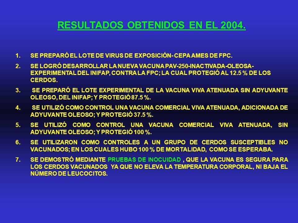 RESULTADOS OBTENIDOS EN EL 2004.