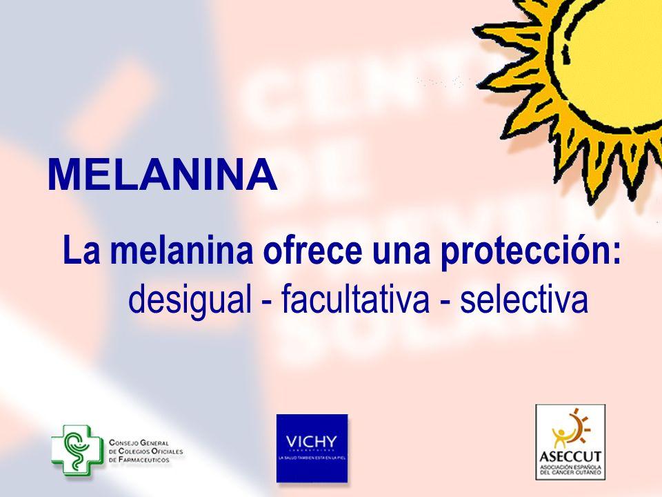 MELANINALa melanina ofrece una protección: desigual - facultativa - selectiva.