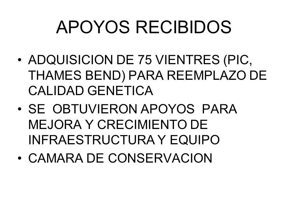APOYOS RECIBIDOS ADQUISICION DE 75 VIENTRES (PIC, THAMES BEND) PARA REEMPLAZO DE CALIDAD GENETICA.