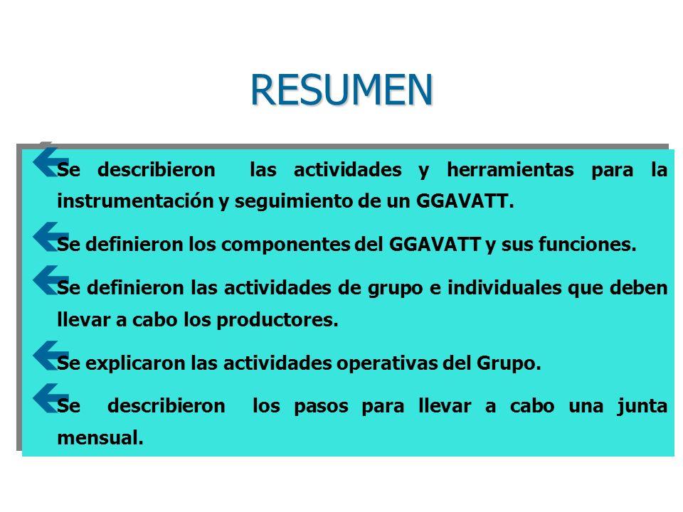 RESUMEN Se describieron las actividades y herramientas para la instrumentación y seguimiento de un GGAVATT.