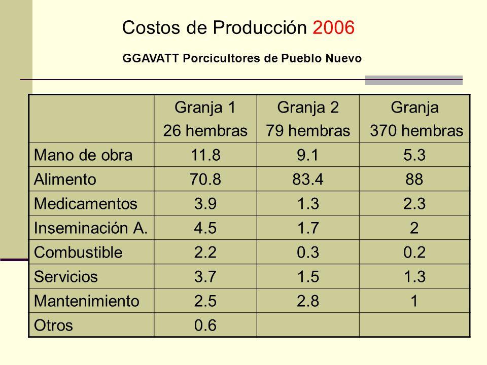 Costos de Producción 2006 Granja 1 26 hembras Granja 2 79 hembras