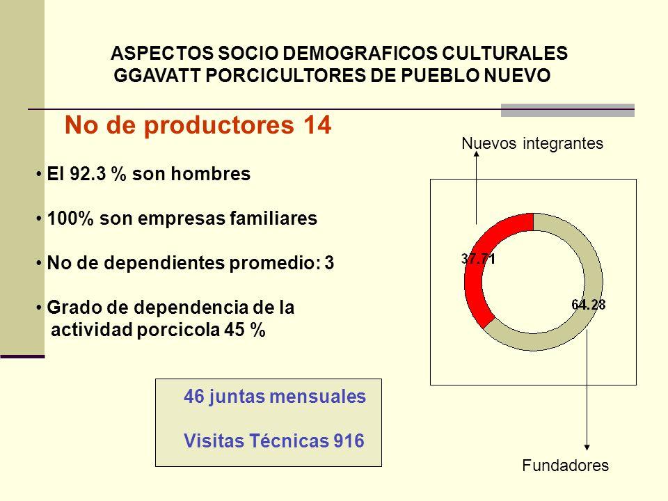 No de productores 14 GGAVATT PORCICULTORES DE PUEBLO NUEVO