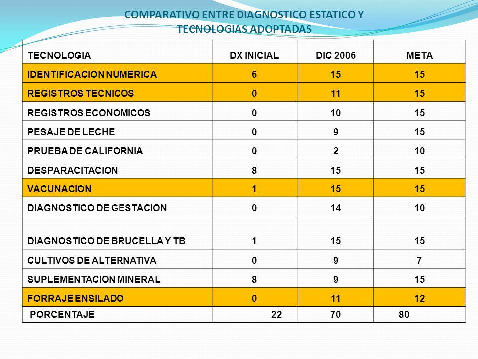 COMPARATIVO ENTRE DIAGNOSTICO ESTATICO Y TECNOLOGIAS ADOPTADAS