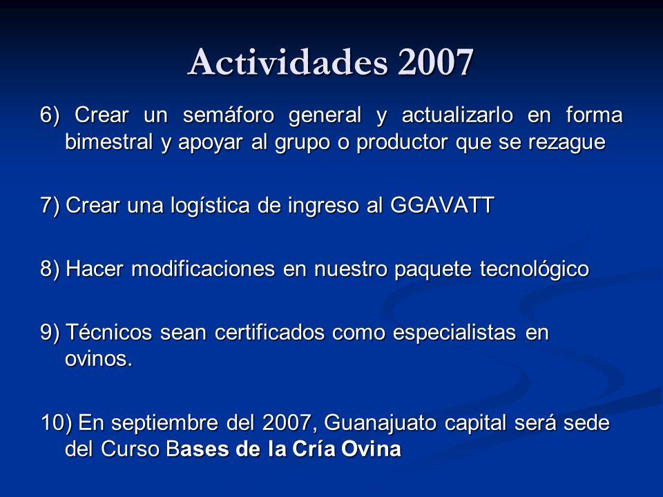 Actividades 2007 6) Crear un semáforo general y actualizarlo en forma bimestral y apoyar al grupo o productor que se rezague.
